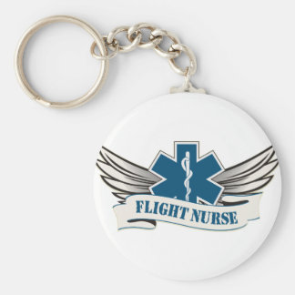 flight nurse wings basic round button keychain