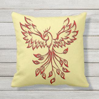Flight of A Phoenix Yellow Throw Pillow