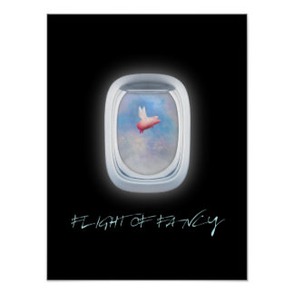 Flight of fancy-flying pig past an airplane window poster