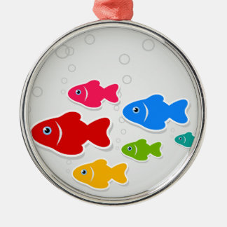Flight of fishes3 metal ornament