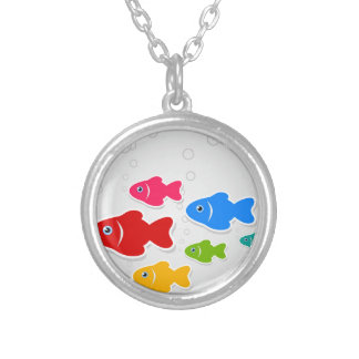 Flight of fishes3 silver plated necklace
