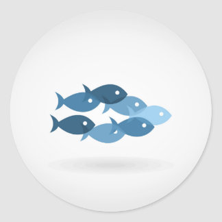 Flight of fishes5 classic round sticker