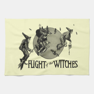 Flight of the Witch Vintage Halloween Illustration Kitchen Towel
