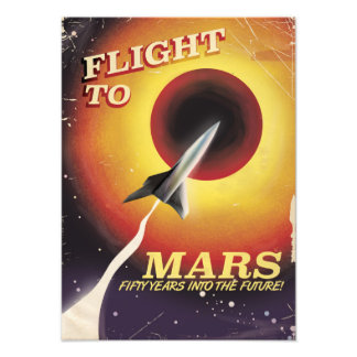 Flight To Mars! vintage sci-fi poster Photographic Print