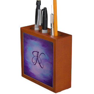 Flighty Desk | Monogram Purple Blue Pink | Pastel Desk Organizer