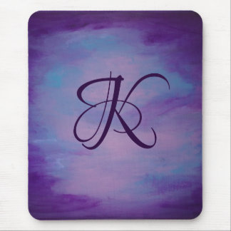Flighty Desk | Monogram Purple Blue Pink Pastel Mouse Pad