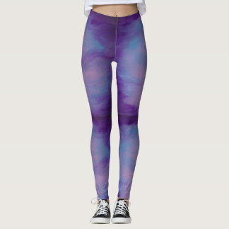 Flighty Fashion | Fun Pink Cloud Purple Blue Sky Leggings