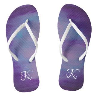 Flighty Style   Monogram Purple Blue Pink   Pastel Flip Flops