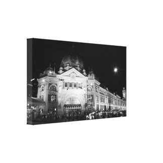 Flinders Station, Melbourne - Black & White Canvas