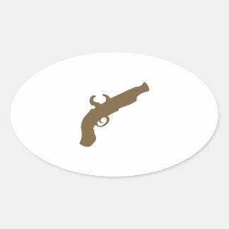 Flint Pistol Silhouette Oval Sticker