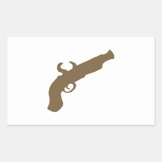 Flint Pistol Silhouette Rectangular Sticker