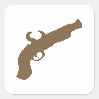 Flint Pistol Silhouette Square Sticker