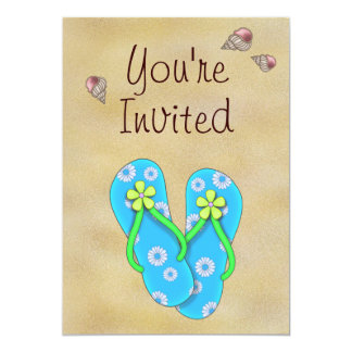 Flip Flop and Beach Birthday Party Invitation