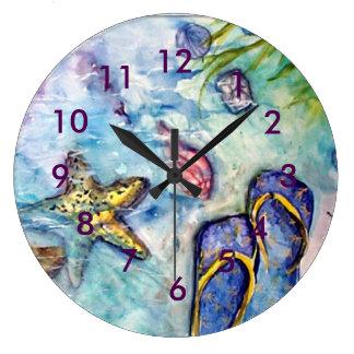 Flip Flop Beach Theme watercolor Large Clock