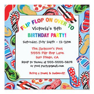 Flip Flop Sandal Birthday Party Invitations
