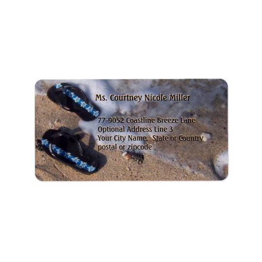 Flip Flop Sandals Wave on Beach Label