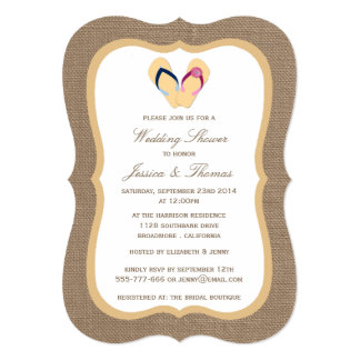 "Flip-Flop Sandy Beach On Burlap Wedding Shower 5"" X 7"" Invitation Card"
