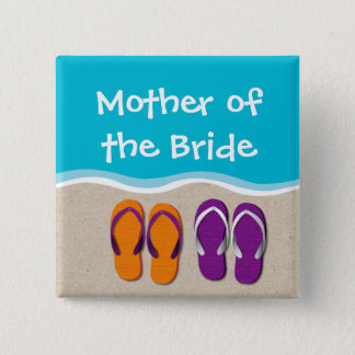 Flip Flop Wedding on the Beach Bridal Party 2 Inch Square Button