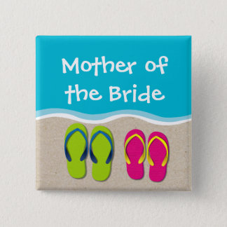 Flip Flop Wedding on the Beach Bridal Party Button