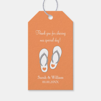 Flip flops beach wedding thank you favor gift tags