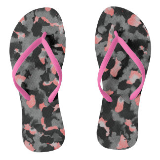 Flip Flops Black White Abstract Changeable Colors