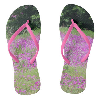Flip flops decked out in pink wildflowers