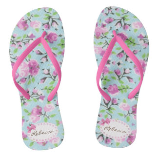 Flip Flops Floral - Edit your name