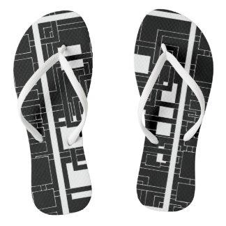 """Flip-flops """"Labyrinth of squares"""" black white Flip Flops"""