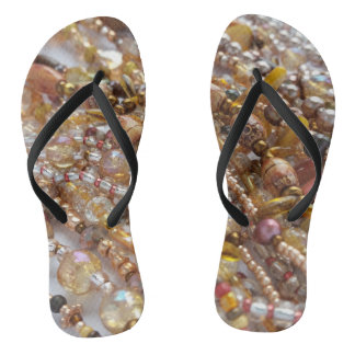 Flip Flops- Natural Earth tones, Bronze Beads Flip Flops