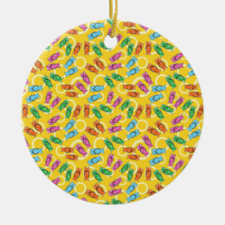 Flip flops on a beach ceramic ornament