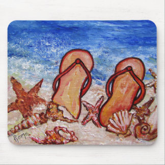 Flip Flops on the Beach - Mouse Pad