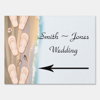 Flip Flops on the Beach Wedding Direction Sign