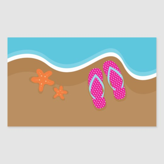 Flip Flops on the Sand Sticker