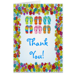 Flip Flops Pool Party Thank You Note Card
