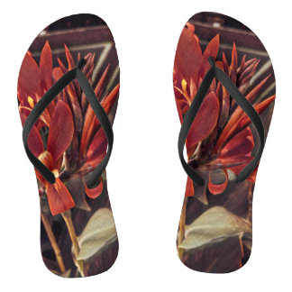 Flip flops: Red Folk Art Flowers Flip Flops