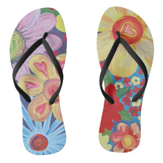 Flip flops with Hearts and Flowers design