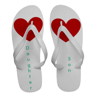 Flip flops with I love daughter and I love son