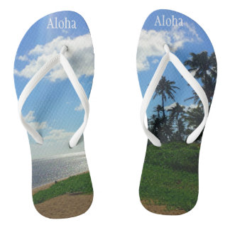 "Flip Flops with Picture of Hawaii+ & ""Aloha"""