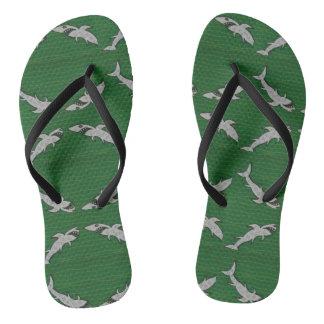 Flip flops with shark, green, black