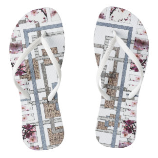 """Flip-flops woman """"Labyrinth and flowers of cherry Flip Flops"""