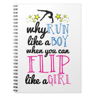 Flip Like a Girl Empowerment Gymnastics Spiral Notebook