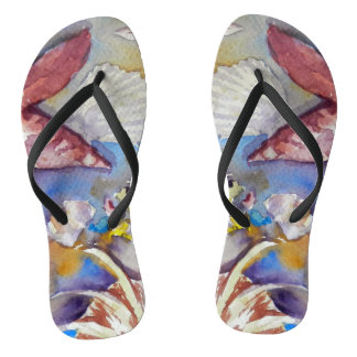 Flipflops Seashells, Watercolor Art, Flip Flops