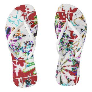 Flipflops women girls custom red white multi flip flops