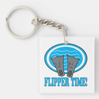 Flipper Time Double-Sided Square Acrylic Keychain