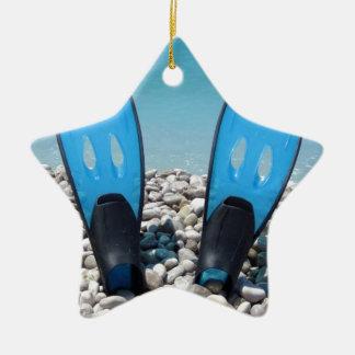 Flippers, Pebbles, and Ocean Ceramic Ornament