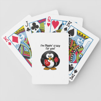 Flipping Crazy For You Valentine's Day Penguin Poker Deck