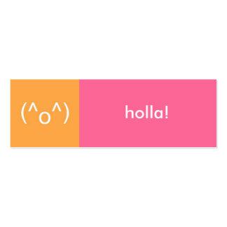 Flirt card pink orange holla emoticon text message mini business card