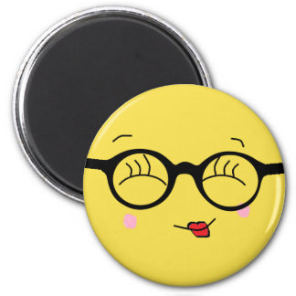 Flirt Smiley Face with Glasses Refrigerator Magnet