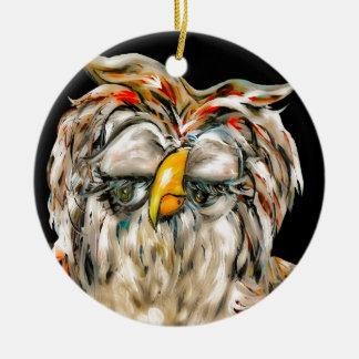 Flirtatious Owl Ceramic Ornament