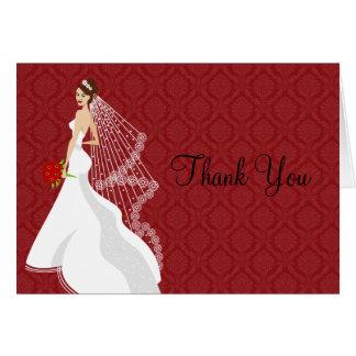 Flirty Crimson Bridal Shower Thank You Card